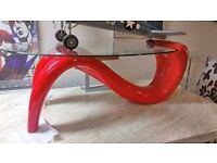RED GLOSS AND GLASS COFFEE TABLE