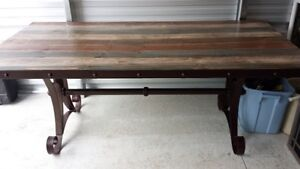 Solid Wood and Wrought Iron Table/Chairs
