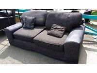 Black Suede Fabric 2 Seater Sofa