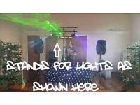 FULL DJ Lighting Setup - 4 Lights, Laser, Smoke Machine & Liquid, Stand & T-Bar, All Fixings & Leads