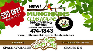 NEW Munchkins Clubhouse ~ After School Spaces Available!