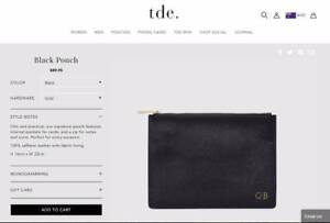 """BRAND NEW Monogrammed TDE Black Leather Pouch """"AB"""" New Farm Brisbane North East Preview"""