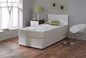Brand New Single Divan Bed Base in Black White & Cream Color With Mattresses
