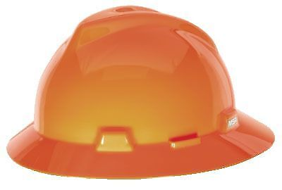 Msa Safety 10021292 V Gard Fas Trac Hi Viz Orange Protective Hard Hat