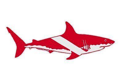 "Bull Shark on a Dive Flag Scuba Diver Sticker / Decal 2.5"""
