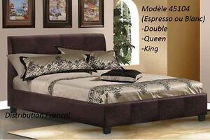 lit king blanc ou espresso cuir avec sommier latte  inclus neuf