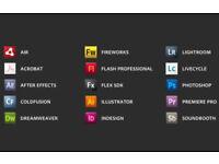 ADOBE INDESIGN, ILLUSTRATOR, PHOTOSHOP CS6,etc... PC or MAC
