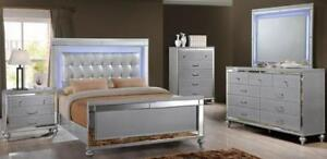 High End Furniture Sale | Silver 6 Pc. Queen Bedroom Set sWith Led Lights (GL1101)