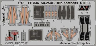 Eduard 1:48 Su-25UB/UBK seatbelts STEEL Color PE Detail Set For SMER FE836