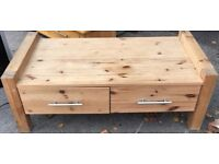 Pine wood coffee table In excellent condition and very clean really nice coffee table With draws