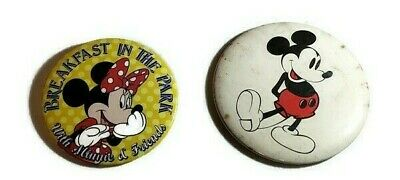 """Vintage Disney Mickey Mouse 3 1/2"""" and Minnie Mouse 3"""" inch Diameter Pin Button"""