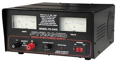 Pyramid PS26KX Power Supply 25 Amp 6-15 Volt W/Cooling Fan