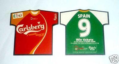 SINGAPORE Mat Coaster CARLSBERG BEER Euro 2008 SPAIN Shirt RARE Football image