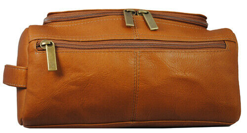 Winston Collection Colombian Leather Toiletry/Shaving Bag Two Pockets