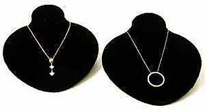 2 New Black Velvet Jewelry Display Bust Pendants Necklaces Neck Forms