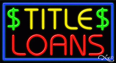 New  Title Loans  37X20x3 Border Real Neon Sign W Custom Options 11306