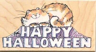 New Penny Black HALLOWEEN HAPPY Wood Rubber Stamp Cat Kitty Spider Web Spooky (Happy Halloween Kitty)