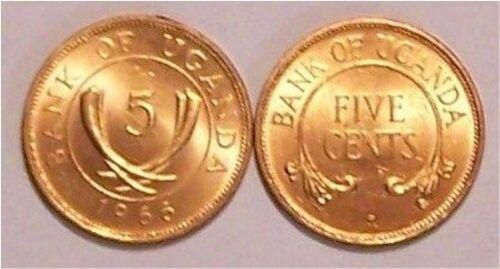 UGANDA  1966   5 CENTS  KM1  UNCIRCULATED
