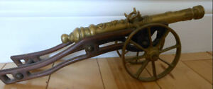 Vintage brass cannon (hollow barrel)