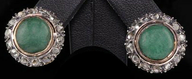 2.05cts ROSE CUT DIAMOND EMERALD ANTIQUE VICTORIAN LOOK 925 SILVER STUDS EARRING