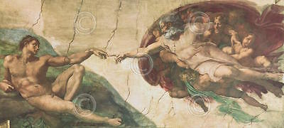 The Creation of Adam Michelangelo Religious Renaissance Print Poster 11x14