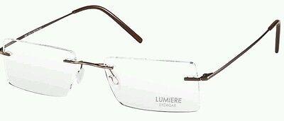 MENS LADIES RIMLESS TITANIUM BROWN OPTICAL EYE GLASSES ULTRA LIGHT FRAME 604