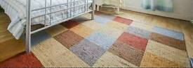 Large thick square check design rug 86x63inch