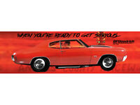 3 Sizes Available REPRODUCTION BFGoodrich Vinyl Banner 1970 Red Chev Chevelle