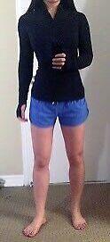 Lululemon run brisk ls long sleeve pullover rulu black size 6