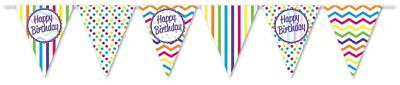 ** 12ft RAINBOW HAPPY BIRTHDAY FLAG BUNTING CHILDRENS STRIPES SPOTS DECORATION