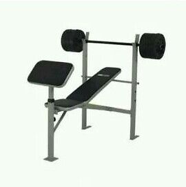Pro fitness bench with 50kg weights package (brand new & boxed)