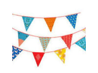 Fabric bunting 4.5 metres multi colour patterns (NEW) 2 packs