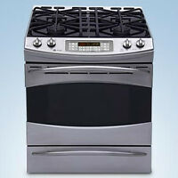 "GE PROFILE 30"" SLIDE IN GAS RANGE CONVECTION STAINLESS STEEL"