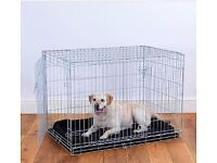 Pets at Home Double Door Dog Crate Large Grey