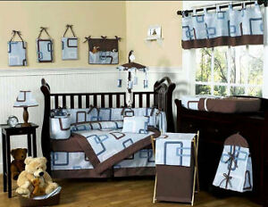 Brown & blue baby bedding