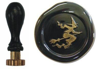 Udig Siegel Stempel Petschaft Hexe 24 mm Siegelstempel fliegende Hex Holzgriff