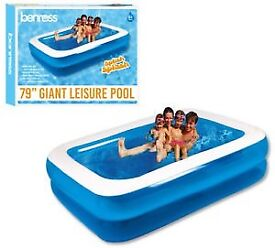 LARGE FAMILY DELUXE RECTANGULAR INFLATABLE SWIMMING PADDLING POOL 79 INCH