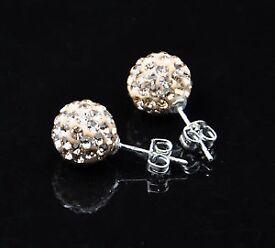 Champagne shamballa earrings with rhinestone