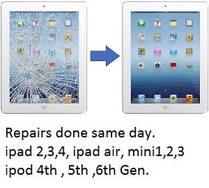 ipad 4, 3,2,1 + air glass repair + iphone 5 repairs+ ipod4th gen