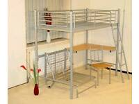 Never assembled flat pack metal cabin bed with futon under. Full size single