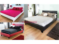 Modern, Double, Leather Bed, Frame New, 9 inch Quilted, Sprung, Mattress, Both, SAME DAY DELIVER.
