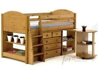 Solid pine midsleeper cabin bed