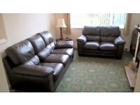 Harveys Leather Sofa 3 and 2 Seats Brown Leather