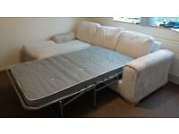 L shaped White Sofa Bed