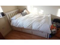 White Wooden Single Bed with Pull-Out Trundle and Mattresses