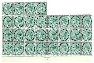 India Victoria 1882-90 half Anna Stamp part sheet