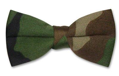 COVONA Men's BOW Tie DARK GREEN & Brown Army Camouflage BOWTie Military Design - Camo Bow Tie