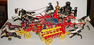 Antique assorted collection of Cast Iron fire wagons Hubley etc London Ontario image 1