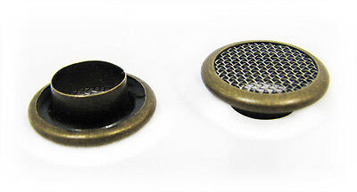 Cigar Box Guitar Parts: 12pc. 15mm Screened Antq Brass Grommets/Washers 32-26-01 on Rummage