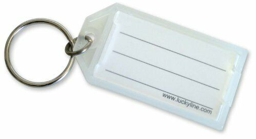 Lucky Line Key Tag with Flap and Split Ring, Clear, 100 per Display Box (6050010